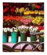Flower Market With Bike Fleece Blanket