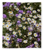 Flower Mix - Purple And White Fleece Blanket