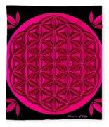 Flower Of Life - Pink Fleece Blanket