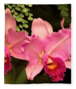 Flower - Orchid -  Cattleya - Magenta Splendor Fleece Blanket
