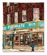 Flower Shop Rue Notre Dame Street Coin Vert Fleuriste Boutique Montreal Winter Stroll Scene Fleece Blanket