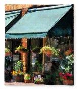 Flower Shop With Green Awnings Fleece Blanket
