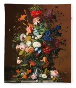 Flower Still Life With A Bird's Nest Fleece Blanket