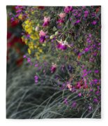 Flower Wall At The Falls Selective Color Fleece Blanket