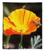 Flower With Honey Bee Fleece Blanket