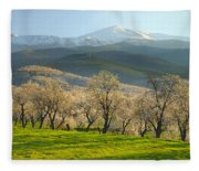 Flowering Almond At The Mountains Fleece Blanket