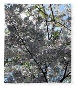 Flowering Cherry - White Fleece Blanket