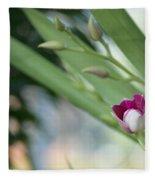 Flowering  Orchid Stem Fleece Blanket