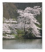 Flowering Tree At The Pond Fleece Blanket
