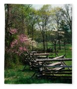 Flowering Trees In Bloom Along Fence Fleece Blanket