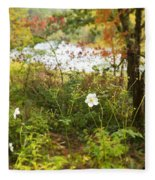 Flowers Along The River In Fall Fleece Blanket