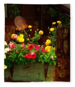 Flowers And Shovel On An Old Drill Truck Fleece Blanket