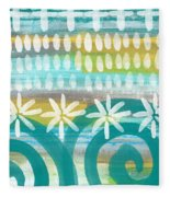 Flowers And Waves- Abstract Pattern Painting Fleece Blanket