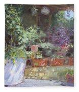 Flowers At Lida's Veranda Fleece Blanket