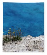 Flowers By The Blue Fleece Blanket