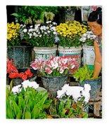 Flowers For Sale In Marketplace In Tachilek-burma Fleece Blanket