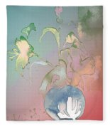 Flowers Ghosts Fleece Blanket