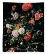 Flowers In A Glass Vase, Circa 1660 Fleece Blanket
