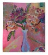Flowers In A Lavender Vase Fleece Blanket
