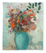 Flowers In A Turquoise Vase Fleece Blanket