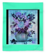Flowers In A Vase With Blue Border Fleece Blanket