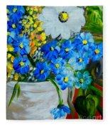 Flowers In A White Vase Fleece Blanket