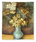 Flowers In Blue Vase - Still Life Oil Fleece Blanket
