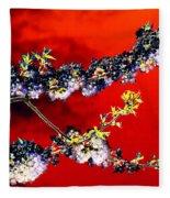 Flowers In Red Fleece Blanket