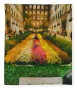 Flowers In Rockefeller Plaza Fleece Blanket