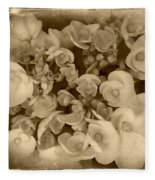 Flowers In Sepia Fleece Blanket