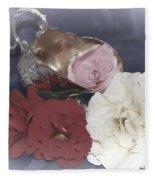 Flowers In Silver Fleece Blanket