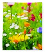 Flowers In The Garden Fleece Blanket