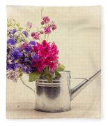 Flowers In Watering Can Fleece Blanket