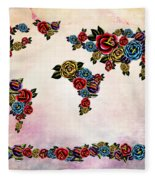 Flowers Map  Fleece Blanket