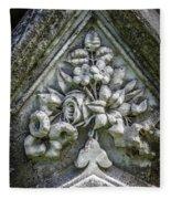 Flowers On A Grave Stone Fleece Blanket