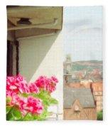 Flowers On The Balcony Fleece Blanket