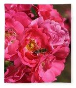 Flowers-roses-pink-bee Fleece Blanket