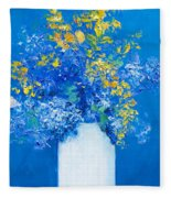 Flowers With Blue Background Fleece Blanket