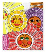 Flowers With Faces Fleece Blanket