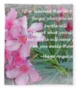 Flowers With Maya Angelou Verse Fleece Blanket