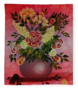Flowers With Red Background Fleece Blanket