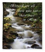 Flowing Creek With Scripture Fleece Blanket