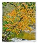 Flowing River Leaning Tree Fleece Blanket