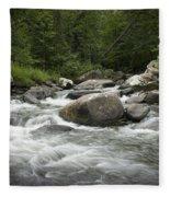 Flowing Stream In Vermont Fleece Blanket