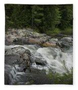 Flowing Stream With Waterfall In Vermont Fleece Blanket