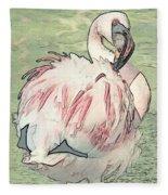 Fluffing Flamingo  Fleece Blanket