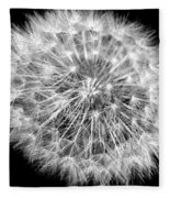 Fluffy Dandelion On Black Fleece Blanket
