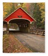 Flume Gorge Covered Bridge Fall Colors Fleece Blanket