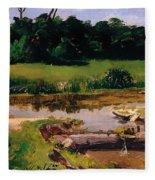 Fluvial Landscape Fleece Blanket