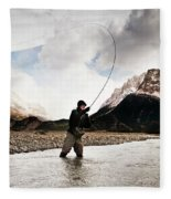 Fly Fishing At The Base Of Fitz Roy Fleece Blanket